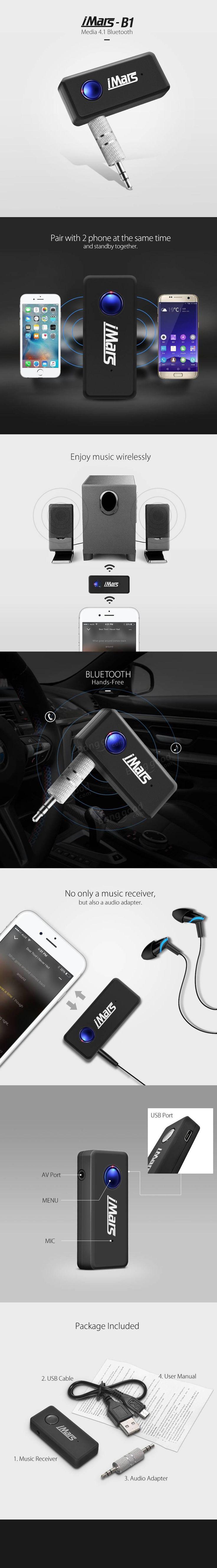 Imars b 1 kn311 airoha4 1 car bluetooth music receiver hands free stereo