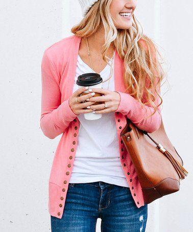 Look at this #zulilyfind! Light Pink Button-Up Cardigan #zulilyfinds