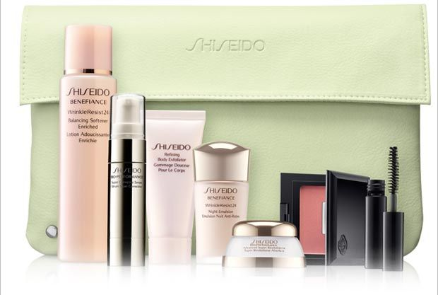 Buy any two Shiseido skincare products from Boots and recieve our complementary summer gift worth £82*    Offer available at Boots Cardiff, Boots Glasgow, Boots Trafford, Boots Newcastle, Boots Stratford.    * On Shiseido products, in a single ...transaction. One gift per customer subject to availability whilst stocks last. Substitution may occur. Not in conjunction with any other offer. Worth based on price per ml of full-size products at standard 2013 selling price.
