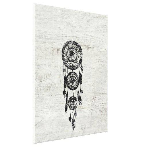 Hipster Lace black dreamcatcher on white wood Canvas Prints