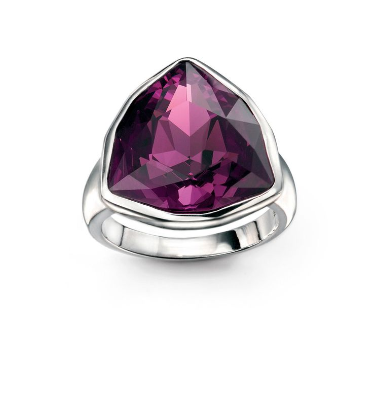Amethyst Swarovski Crystal Triangle Ring
