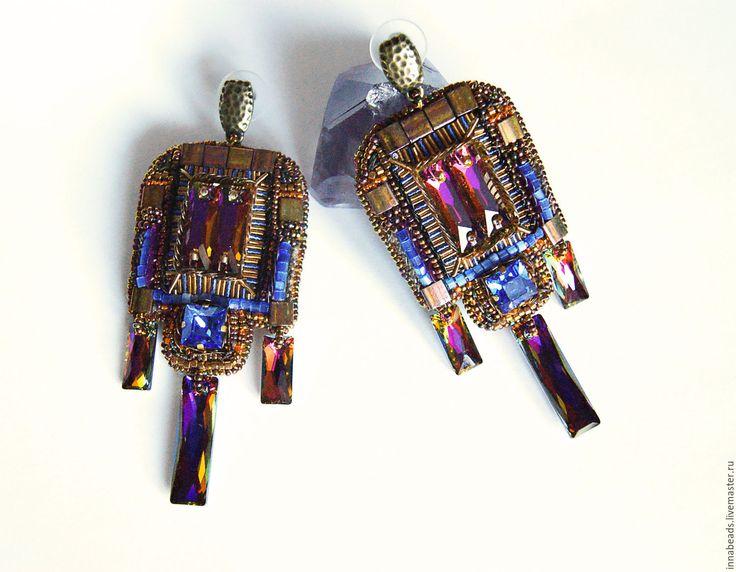 """Купить Вышитые серьги """"Исида"""", серьги с кристаллами - разноцветный, египетский стиль, тила миюки, канитель"""