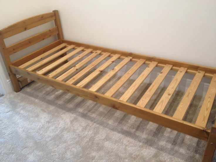 This is a small single bed frame. Takes a 75 x 190 cm mattress, which is narrower than a full size s