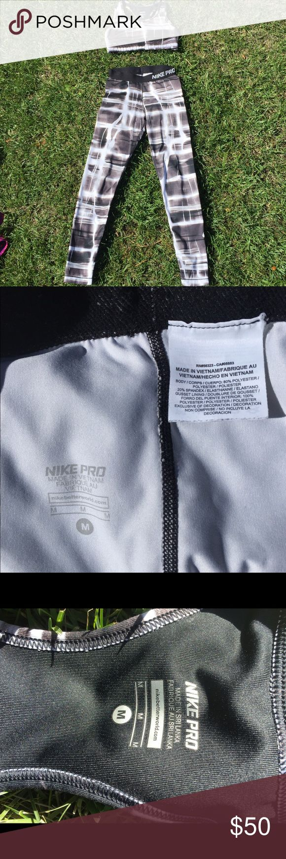 Nike Pro pants and bra The Nike Pro women's training pants and bra are designed with stretchy dri-FIT fabric that helps keep your dry and comfortable. Medium Bra. Medium Pants Nike Pants Leggings