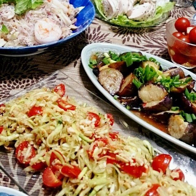 夏の野菜でタイ料理。 青パパイヤとズッキーニのソムタム、ナスのスイートチリソースあえ、ヤムウンセン。 - 9件のもぐもぐ - 夏の野菜でタイ料理 by becoyuki