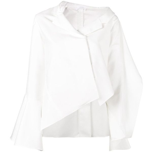Adeam off-shoulder asymmetric shirt (€285) ❤ liked on Polyvore featuring tops, shirts, white, blouses, off the shoulder tops, white shirt, white top, white asymmetrical shirt and asymmetrical shirts