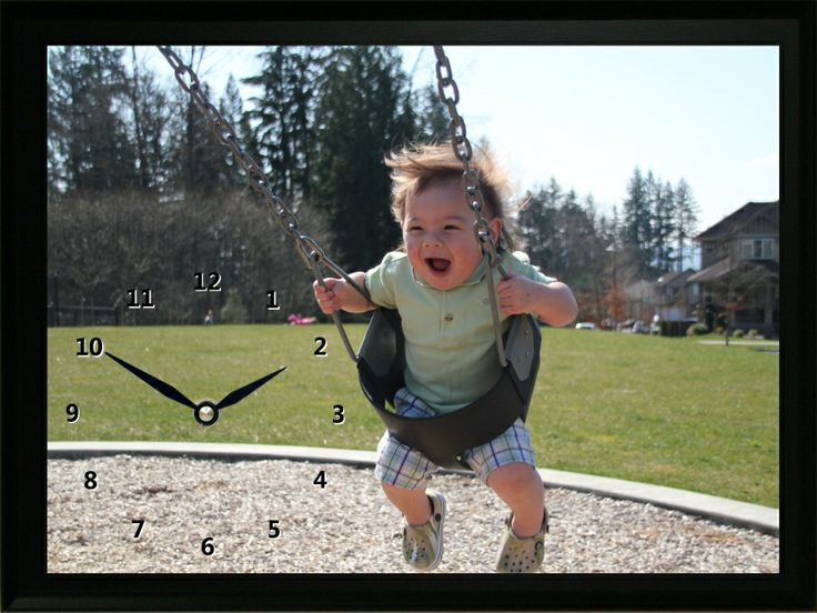 This Child on Swing Clock shows how much fun this little guy is having on a swing. What a great memory for his parents in the years to come.
