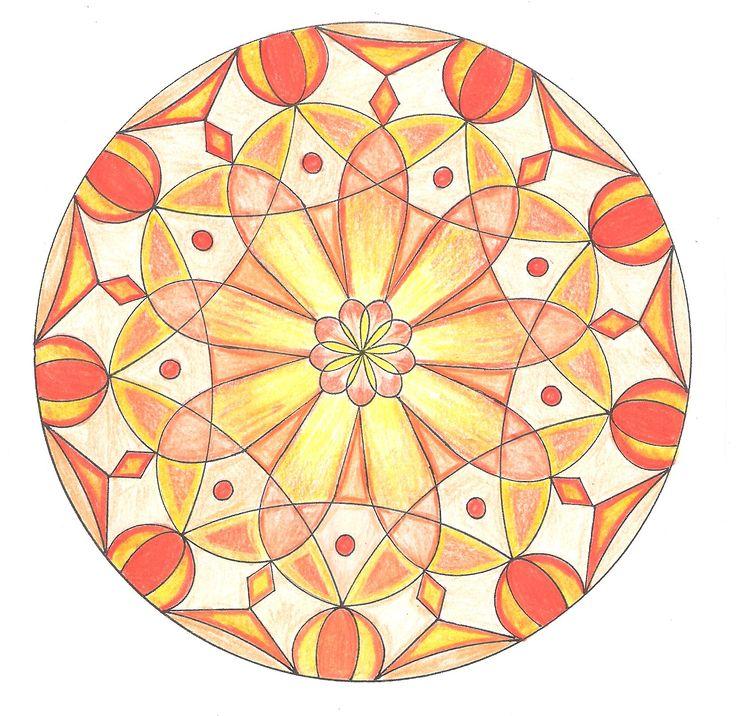 vlastní konstrukce a pouze 2 barvy, odstíny žluté a oranžové, pastelky Progresso
