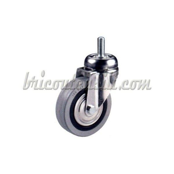 Ruota in polimero termoplastico e anello in gomma grigia con perno girevole - Ruota su cuscinetti protetti - Supporto in acciaio zincato - Finitura cromata