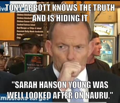 #TonyAbbott tried to choke back this cough when questioned about Sarah Hanson Young . #auspol