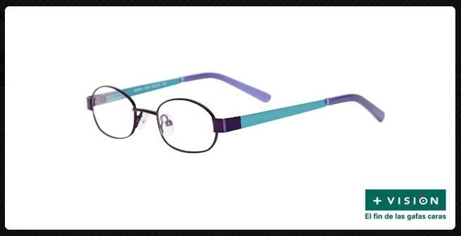 Montura metálica bicolor azul y lila con forma ovalada. Apta para cristales progresivos.    #gafas #progresivas de Ópticas +Visión.