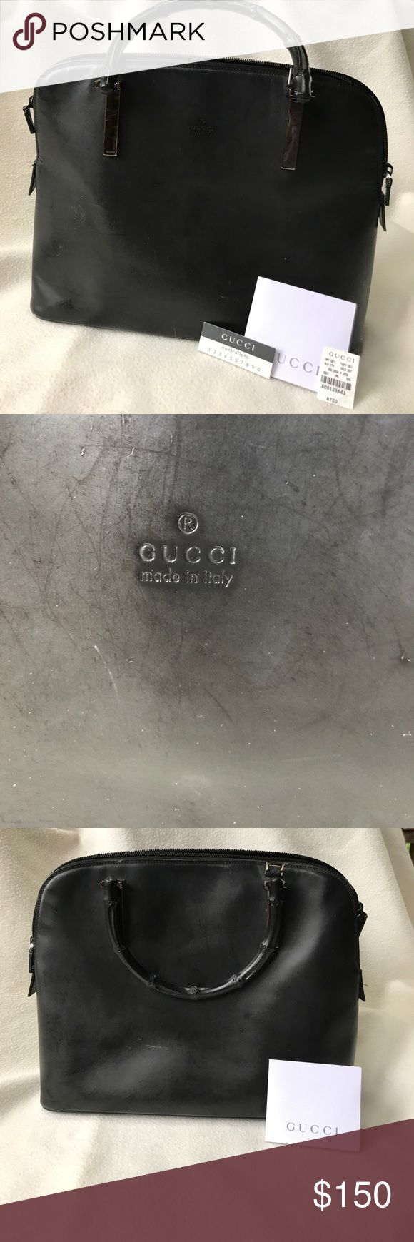 Vintage Gucci bag Gently used Gucci bag. Very Audrey Hepburn! Wearing on bottom corners. Super clean inside. Price tag comes with it. Gucci Bags Satchels