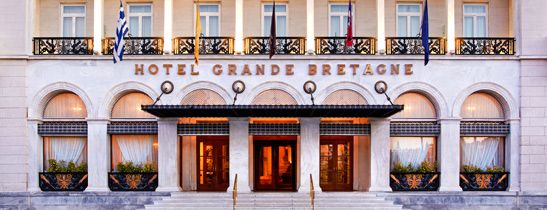 The Grand Bretagne, Athens. Facing Syntagma Square, our room balcony overlooked the Parliament building.