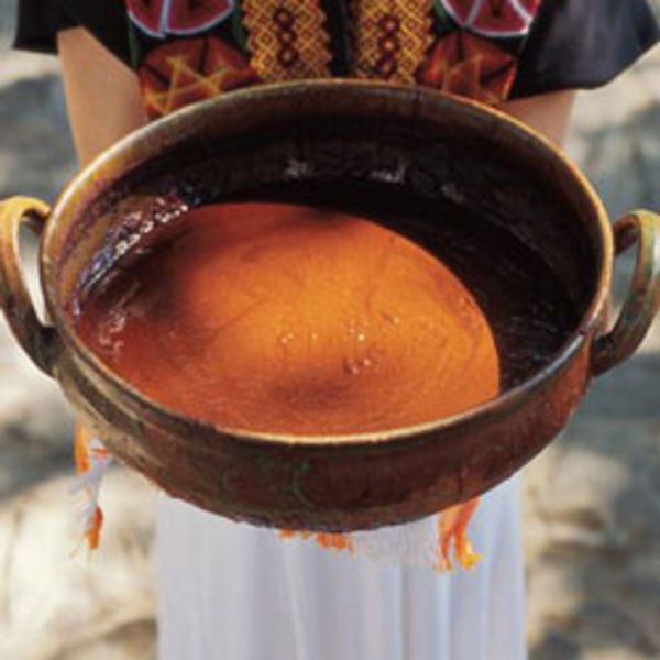 Like its brick-red color, this mole—a specialty in Oaxaca, Mexico—is fiery, robust, and savory.
