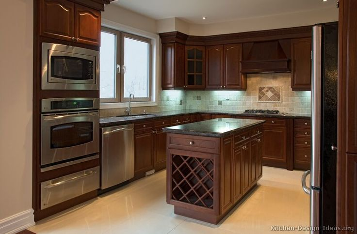 dark wood kitchens designs | ... of Kitchens - Traditional - Dark Wood, Cherry-Color (Kitchen #1