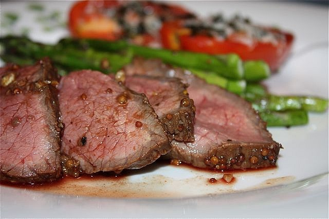 London Broil with Mustard, Balsamic Vinegar, and Garlic Marinade plus easy side dishes--Aggie's Kitchen