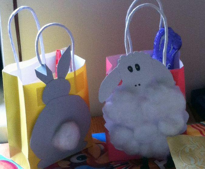 Selbstgebastelte Ostergeschenke aus Tüten ;)  Schaf und Hase von hinten DIY und ganz einfach