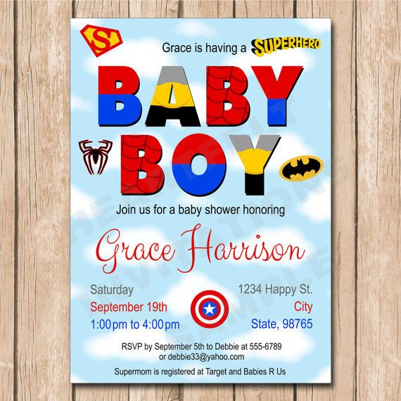 Superhero Baby Shower Invitation - Superman, Batman, Spiderman, Captain America - 1.00 each printed or 15.00 DIY file by HeartfeltInvitations on Etsy https://www.etsy.com/listing/263484934/superhero-baby-shower-invitation