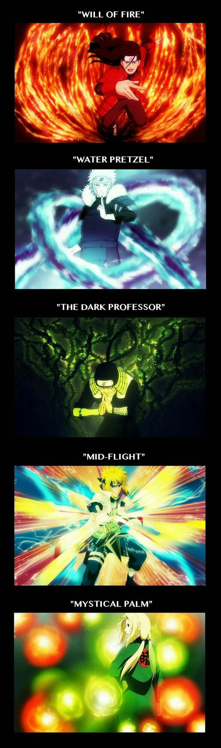 Will of Fire, Water Pretzel, The Dark Professor, Mid-Flight, Mystical Palm, Hokages, jutsu, Hashirama, Tobirama, Sarutobi, Minato, Tsunade, text; Naruto