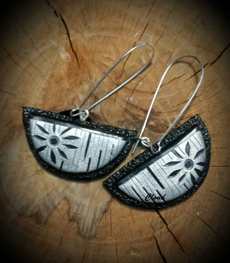Silver and black earrings in polymer clay... https://www.facebook.com/1622778361284056/photos/a.1625351237693435.1073741834.1622778361284056/1661564784072080/?type=1&theater