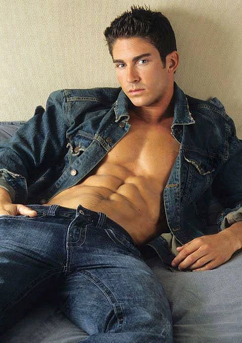 The best way to wear a denim jean jacket: with no shirt on