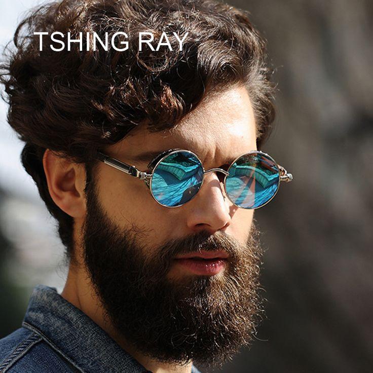 Tshing ray винтаж мужчины стимпанк солнцезащитные очки женщины моды готический стиль зеркальные ретро круглый круг панк солнцезащитные очки для мужчин купить на AliExpress
