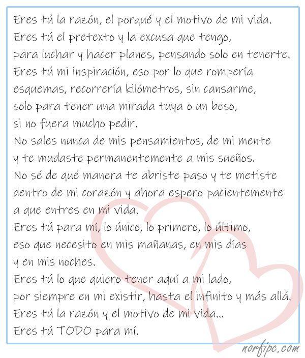 Eres Tú La Razón Y El Motivo De Mi Vida Mensajes De Texto Románticos Mensajes De Texto Bonitos Frases Bonitas