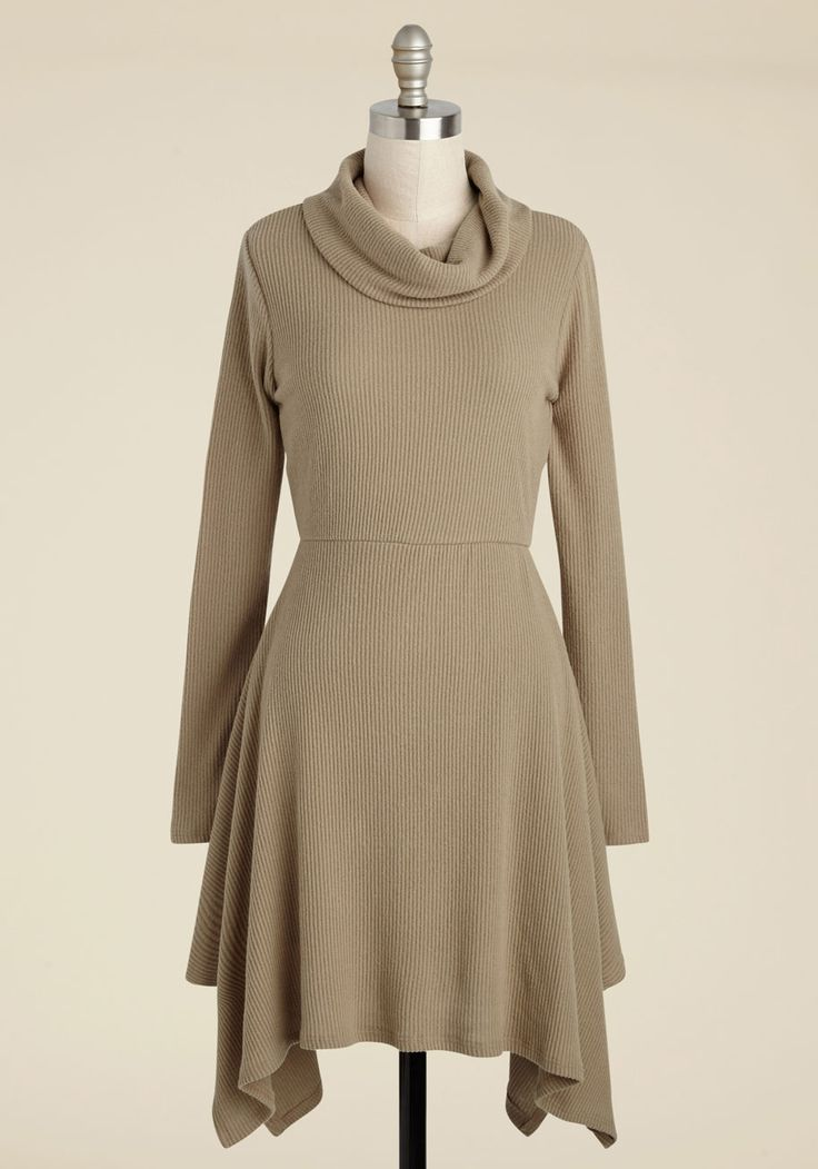 Couldn't Be Cozier Sweater Dress. If a cup of tea, a cushy chair, and this tan sweater dress sound like you ideal afternoon, then youre not alone! #tan #modcloth