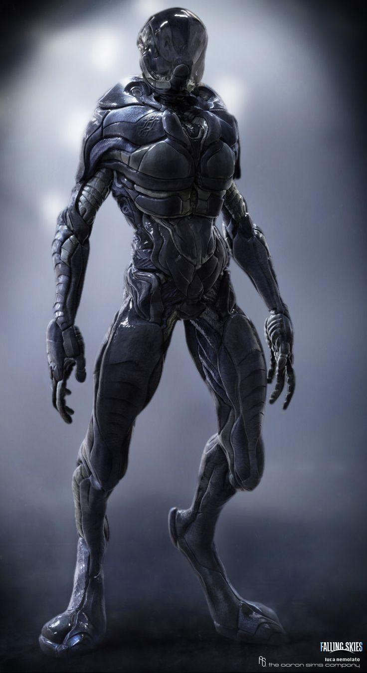 Falling Skies - Cochise Alien Suit, Luca Nemolato on ArtStation at https://www.artstation.com/artwork/falling-skies-cochise-alien-suit
