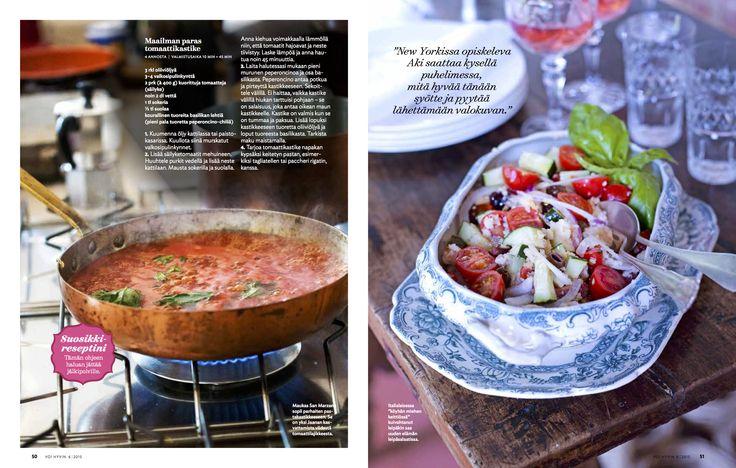 Voi Hyvin 6 | 2015 | Ylistys tomaatille | Villa Arcadio | toimittaja Helena-Saine Laitinen | kuvaaja Sanna Peurakoski  #vacation #italy #garda #lagodigarda #salo #italia #loma #italian #food #recipe #hotel #villaarcadio #foodinspiration #tomato #tomatosauce #tomaattikastike