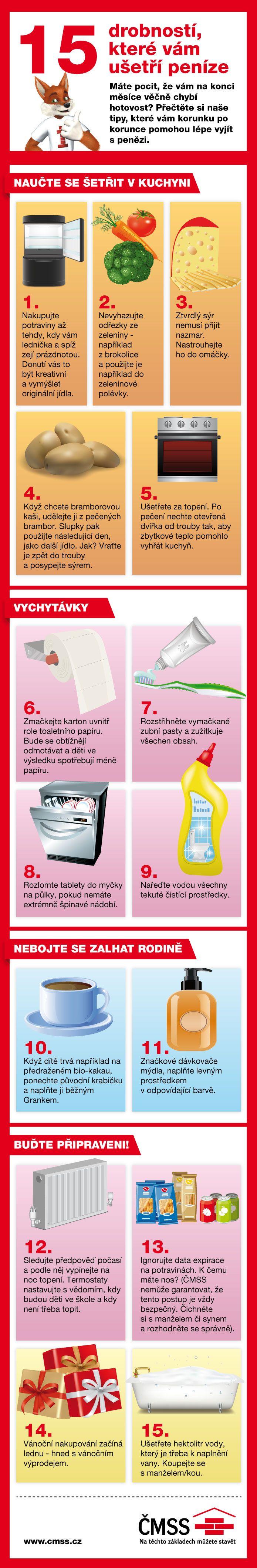 Infografika 15 tipů, jak ušetřit v domácnosti