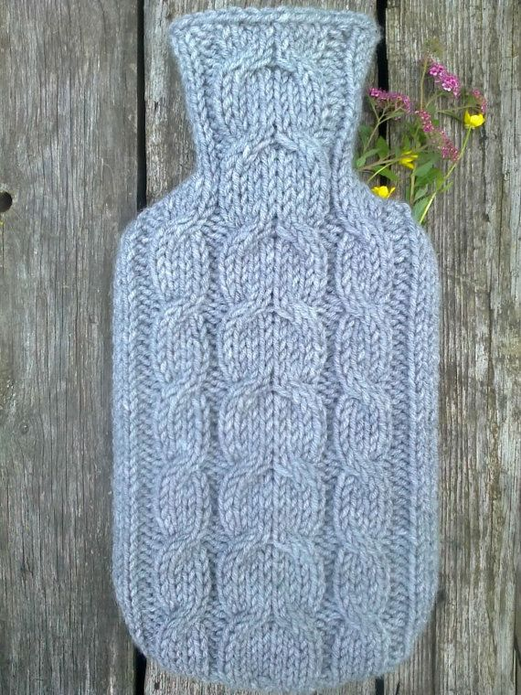 Hand knitted hot water bottle cover cosy/ cozy with cable pattern