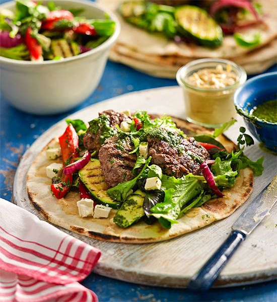 Middle Eastern lamb kofta rissoles with grilled vegetables: Banish takeaway kebabs for good! Simply make your own rissoles and pack them into flatbread with fresh salad.