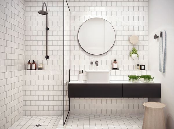 White tiled bathroom (notice the glass shower wall is fringed in black).