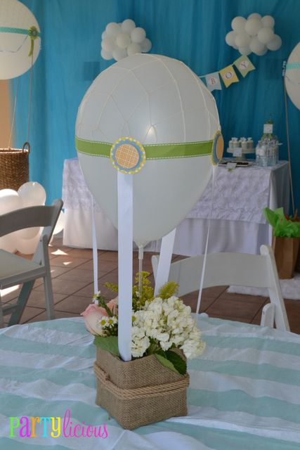 "Photo 1 of 35: Hot Air Balloon/Sky / Baby Shower/Sip & See ""{Up, Up and Away on Hot Air Balloons}"" 