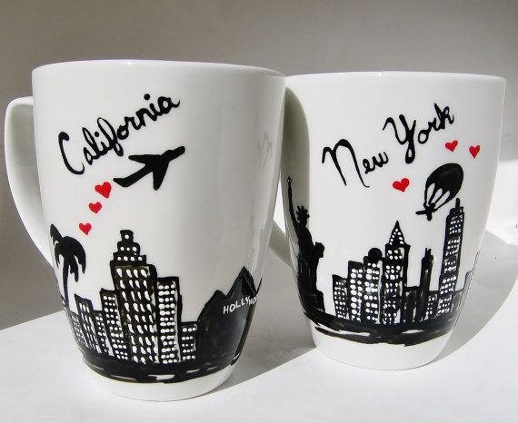 Long Distance Relationship, Moving Gift State to State Mugs w/ hearts Set of 2, , Skyline, Skydiver, Personalized, Couples Love Mug on Etsy, $24.95