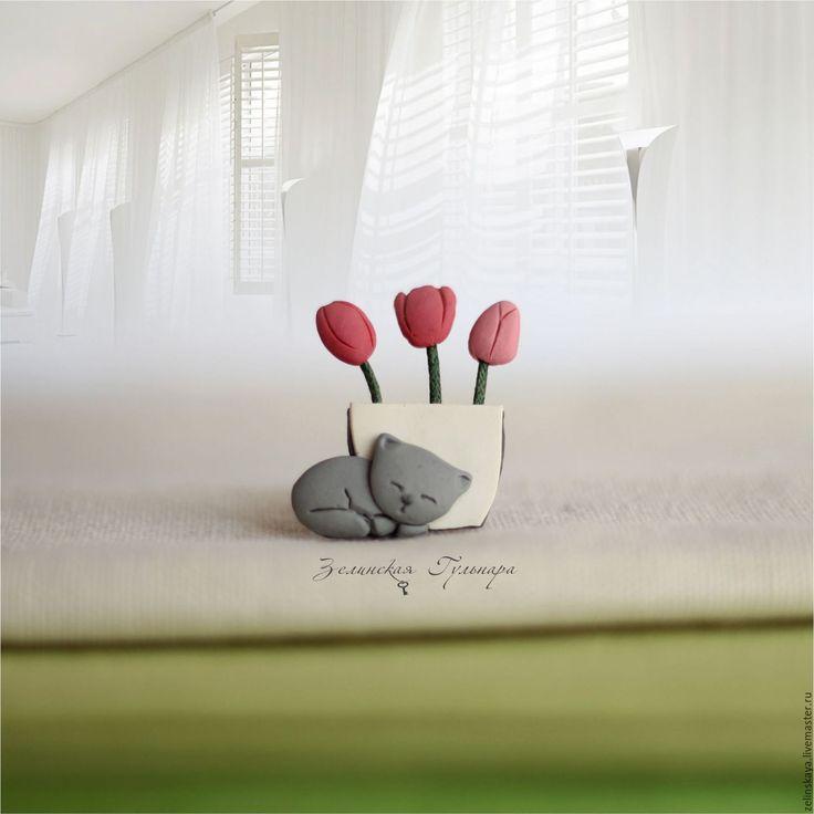 Купить Уютная весна. Брошь - коралловый, тюльпаны, брошь цветы, оригинальная брошь