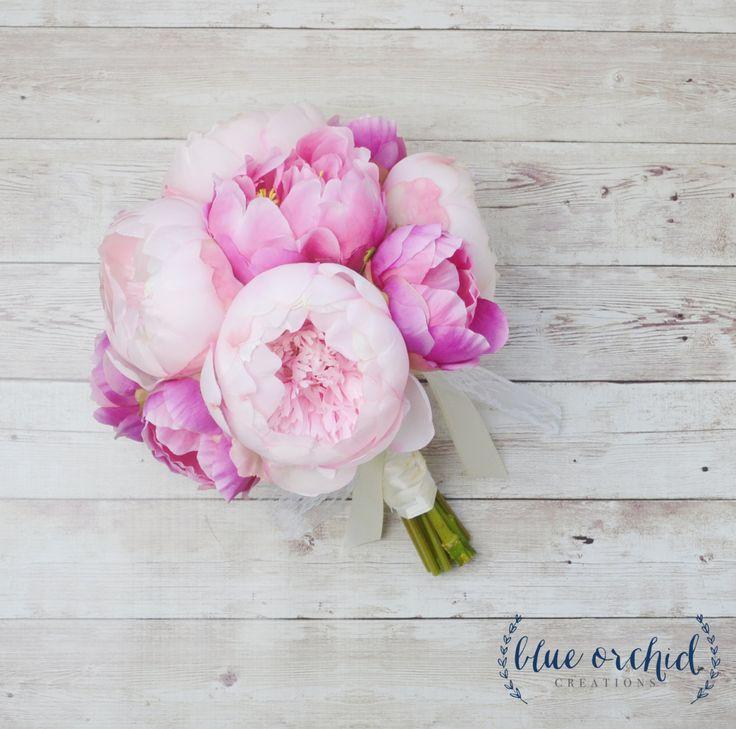 Peony Bouquet - Pink Peony Bouquet, Silk Peony Bouquet, Peonies, Wedding Bouquet, Silk Flower Bouquet, Pink, Beach Wedding, Wedding Flowers by blueorchidcreations on Etsy