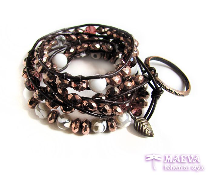 #Boho #style #jewelry. A great set of two #bohemian style #bracelets with authentic look... http://maevabohemian.com