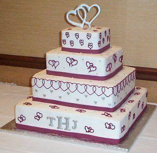 simple beach wedding cake designs | heart square wedding cakes