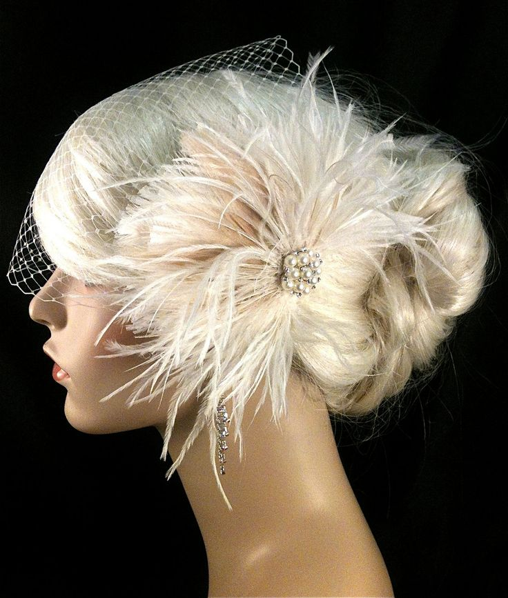 Wedding Bridal Fascinator, Bridal Fascinator, Feather Fascinator , Wedding Veil, Bridal Headpiece, Pearl and Rhinestones - The Couture Bride. $67.00, via Etsy.