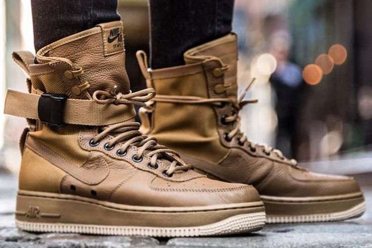 "Nike Special Field Air Force 1 ""Faded Olive-Gum Light Brown"" to NIKE's classic Special Forces Boot and Air Force 1 shoes for the design of the blueprint, and by the combination of high-quality leather tough and durable Ballistic Nylon material"