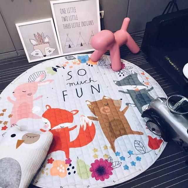 1pcs 150cm Baby Soft Play Mat Game Blanket Pad Toys Storage Bag Kids Play Carpet Climb Mat Crawling Mat Kids Toys Sundries Pouch
