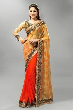 Sarees,Admyrin,Orange and Beige Georgette Saree With Embroidered Blouse ...