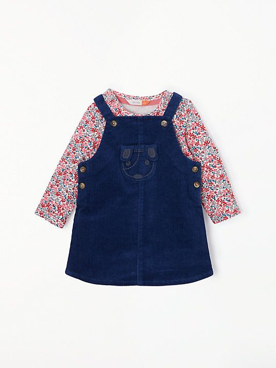 3addf78b53f2 John Lewis & Partners Baby Cord Dog Pinafore and Floral T-Shirt Set, Navy