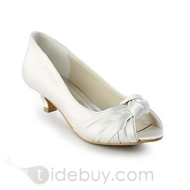 パーフェクトサテンチャンキーヒールのぞき見つま先の結婚式の靴