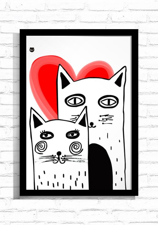 "Grafika ""Cats in Love""/ Graphic ""Cats in Love"""