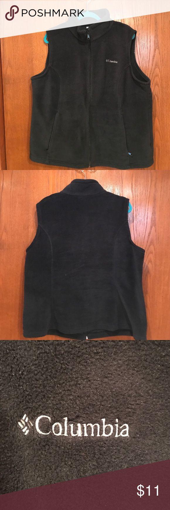 Columbia Fleece Black Zip Up Vest Sz 2x Columbia Black fleece vest, polyester. Worn a few times. Columbia Jackets & Coats Vests