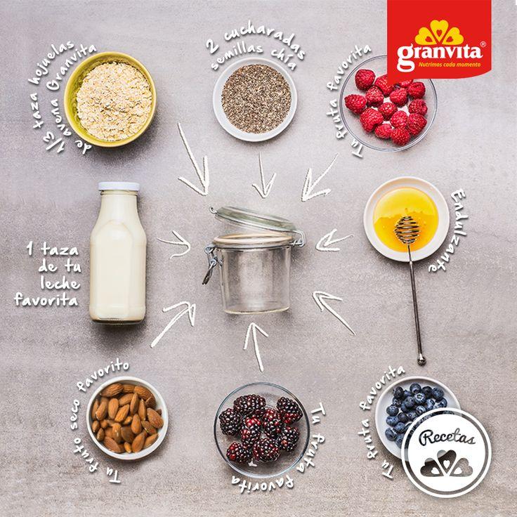 #Receta: Avena Granvita de refrigerador.   Práctico y delicioso.