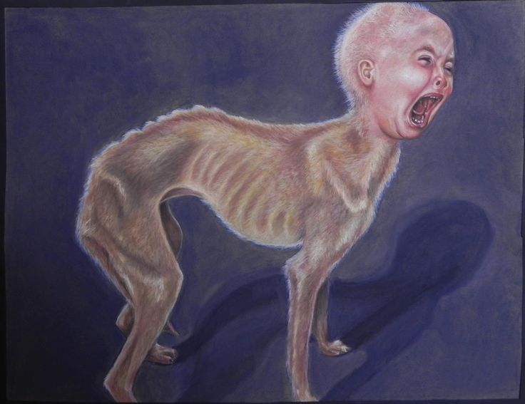 Society's good dogs I (The Scared) - Pastel on Paper Artist: Ellenor Hastie